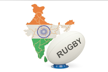 Rugby Ball with map of India, 3D rendering