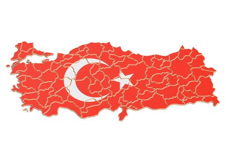 Turkish map closeup, 3D rendering isolated on white background Stock Photo