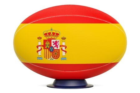Rugby Ball with flag of Spain, 3D rendering isolated on white background