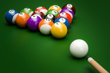 Billiard balls with cue on the green table, 3D rendering Banque d'images