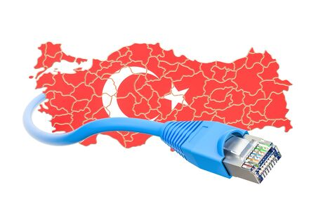 Internet connection in Turkey concept. 3D rendering isolated on white background
