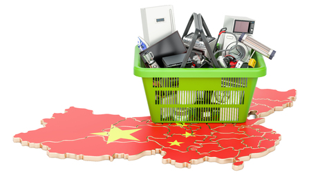 Map of China with shopping basket full of home and kitchen appliances, 3D rendering Stock Photo