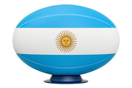 Rugby Ball with flag of Aregnintina, 3D rendering isolated on white background