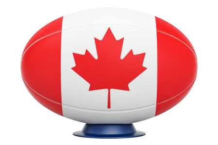 Rugby Ball with flag of Canada, 3D rendering isolated on white background