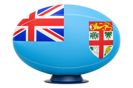 Rugby Ball with flag of Fiji, 3D rendering isolated on white background Stock Photo