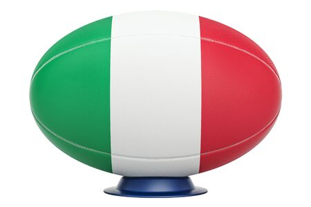 Rugby Ball with flag of Italy, 3D rendering isolated on white background Stock Photo