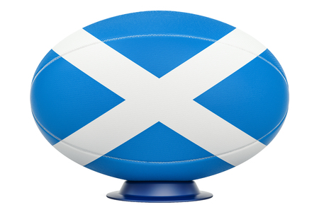 Rugby Ball with flag of Scotland, 3D rendering isolated on white background Stock Photo