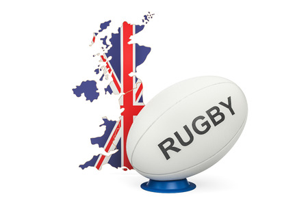 Rugby Ball with map of United Kingdom, 3D rendering Stock Photo