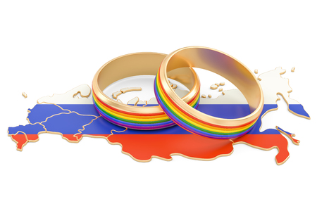 wedding couple: Russian map with LGBT rainbow rings, 3D rendering Stock Photo