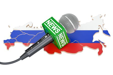 Russian News concept, microphone news on the map of Russia. 3D rendering