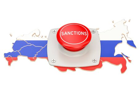 Sanctions button on map of Russia, 3D rendering isolated on white background