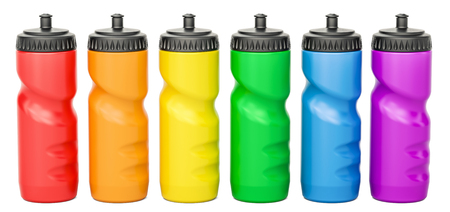 colorful straw: Set of colored plastic sport water bottles, 3D rendering