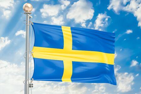 Swedish flag waving in blue cloudy sky, 3D rendering