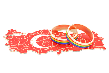 parade: Turkish map with LGBT rainbow rings, 3D rendering Stock Photo