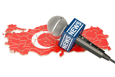 Turkish News concept, microphone news on the map of Turkey. 3D rendering Stock Photo