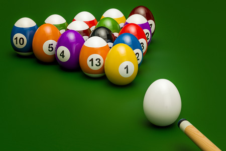 Easter billiard balls with cue, 3D rendering isolated on white background Banque d'images