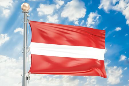 Latvian flag waving in blue cloudy sky, 3D rendering Stock Photo