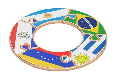 bandera de paraguay: Concepto de Mercosur, representación 3D aisladas sobre fondo blanco
