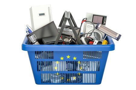 electronic commerce: Shopping basket full of home and kitchen appliances with flag of EU, 3D rendering Stock Photo