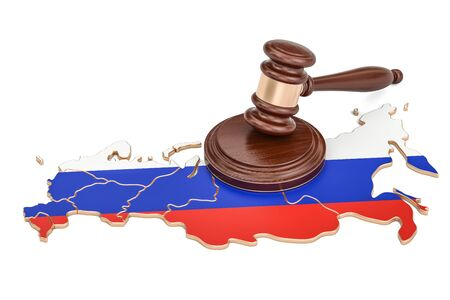 Wooden Gavel on map of Russia, 3D rendering isolated on white background