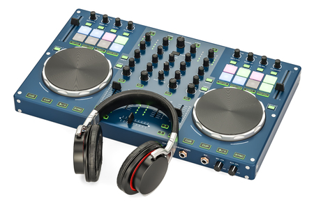DJ Console with headphones, 3D rendering isolated on white background Stock Photo