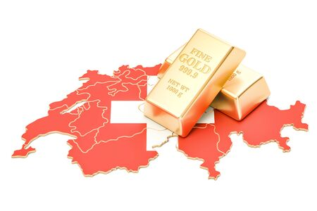 Foreign-exchange reserves of Switzerland concept, 3D rendering isolated on white background