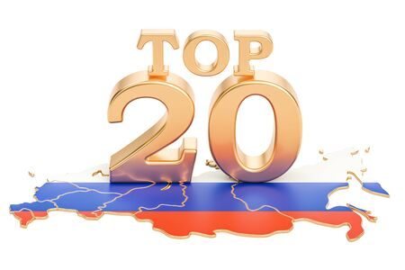 Russian Top 20 concept, 3D rendering isolated on white background