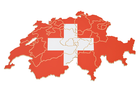 Swiss map closeup, 3D rendering isolated on white background Stock Photo