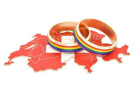Swiss map with LGBT rainbow rings, 3D rendering Stock Photo