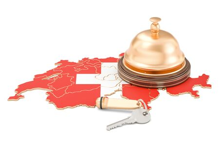 Switzerland booking concept. Swiss flag with hotel key and reception bell, 3D rendering