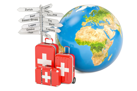 Switzerland travel concept. Suitcases with signpost and Earth Globe, 3D rendering Stock Photo