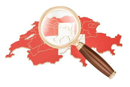 Switzerland under magnifying glass, analysis concept, 3D rendering isolated on white background Stock Photo