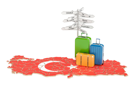 Turkey travel concept. Suitcases with signpost on Turkish map, 3D rendering Stock Photo