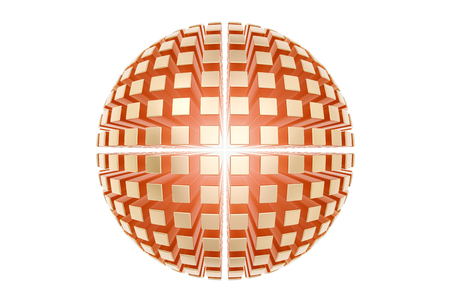 Abstract golden sphere from many parts, business logo. 3D rendering