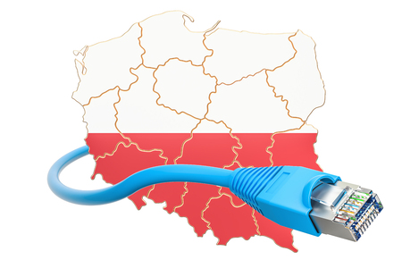 Internet connection in Poland concept. 3D rendering isolated on white background Stock Photo
