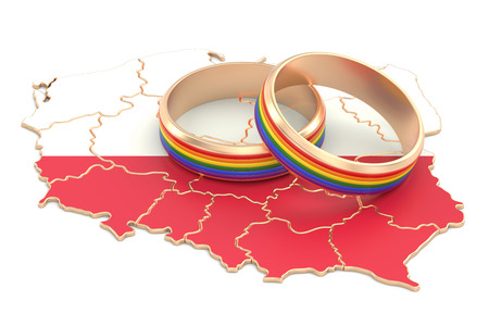 Polish map with LGBT rainbow rings, 3D rendering