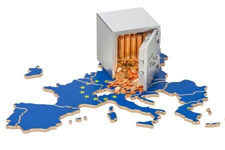 Veilige doos met gouden munten op de kaart van de Europese Unie, 3D-rendering