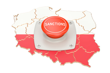 Sanctions button on map of Poland, 3D rendering isolated on white background Stock Photo