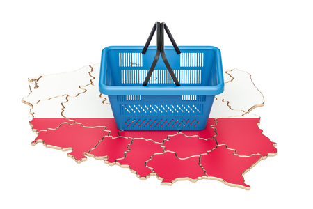 Shopping basket on Polish map, market basket or purchasing power in Poland concept. 3D rendering