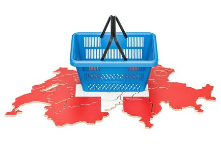 Shopping basket on Swiss map, market basket or purchasing power in Switzerland concept. 3D rendering
