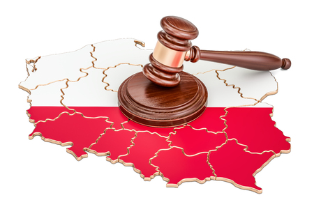 Wooden Gavel on map of Poland, 3D rendering isolated on white background