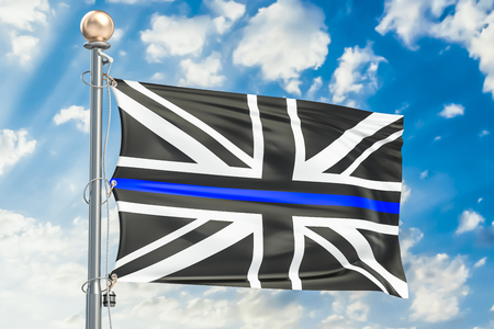 Thin Blue Line. Black Flag of UK with Police Blue Line, 3D rendering