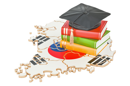 Education in South Korea concept, 3D rendering isolated on white background Stock Photo