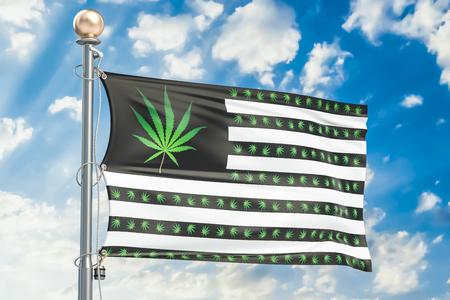 미국 개념에서 대마초의 합법화. 마리화나와 미국 국기 leafs, 3D 렌더링
