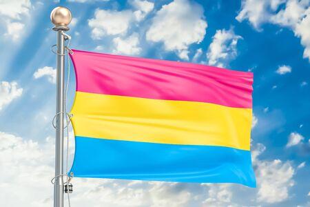 Pansexual pride flag waving in blue cloudy sky, 3D rendering