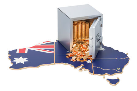Safe box with golden coins on the map of Australia, 3D rendering Stock Photo