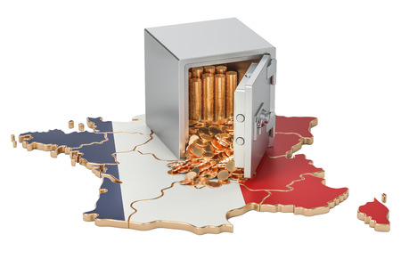 Safe box with golden coins on the map of France, 3D rendering Stock Photo