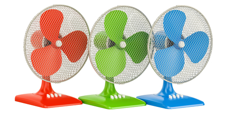 set of colored table fans, 3D rendering isolated on white background