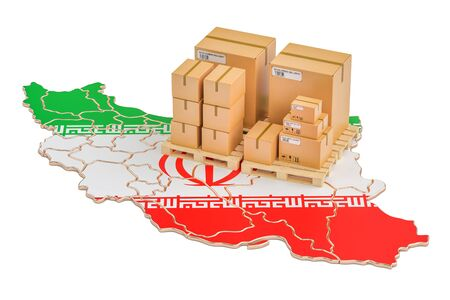 Shipping and Delivery from Iran isolated on white background