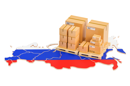 Shipping and Delivery from Russia isolated on white background Stock Photo